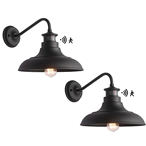 Untrammelife Gooseneck Wall Sconce Barn Lights, Set of 2 Matte Black Farmhouse Outdoor Wall Lights Dusk to Dawn Motion Sensor for House Deck Porch Patio, 10.5''x12.25''(Bulbs Included)