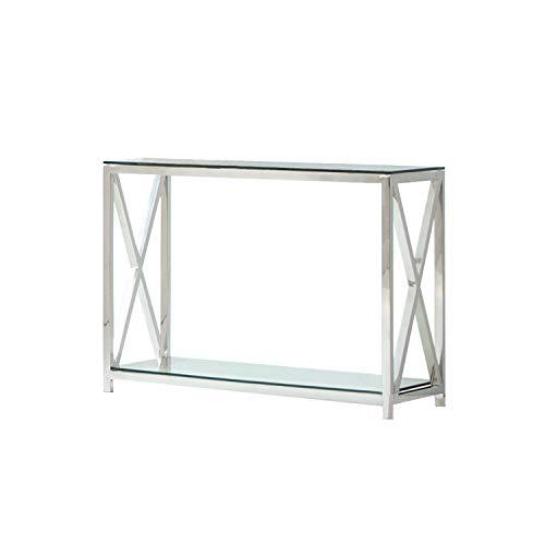 Loberon Konsole Dartford, Edelstahl/Glas, H/B/T ca. 70/90 / 40 cm, Silber/klar
