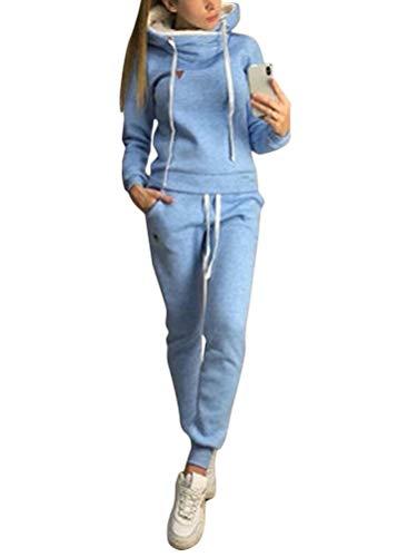 ORANDESIGNE Damen Mode Streifen Trainingsanzug Frauen Lange Ärmel Zipper Top + Lange Hose Sportswear 2 Stück Set Sport Yoga Outfit A Hellblau 44