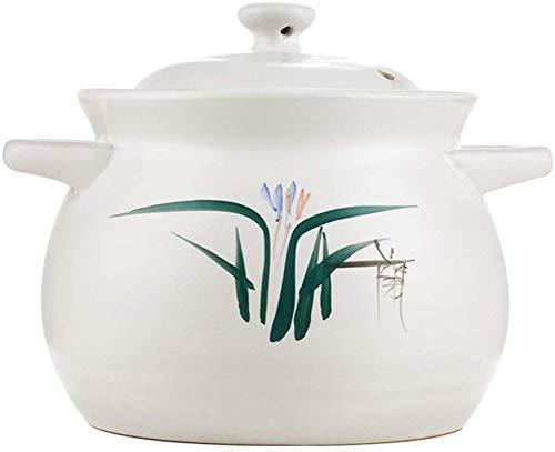 Sooiy Hôtel de Famille Gaz de Grande capacité à Haute température Casserole en céramique Bouillie de Soupe ragoût Minghuo Sable (Vase Blanc),M