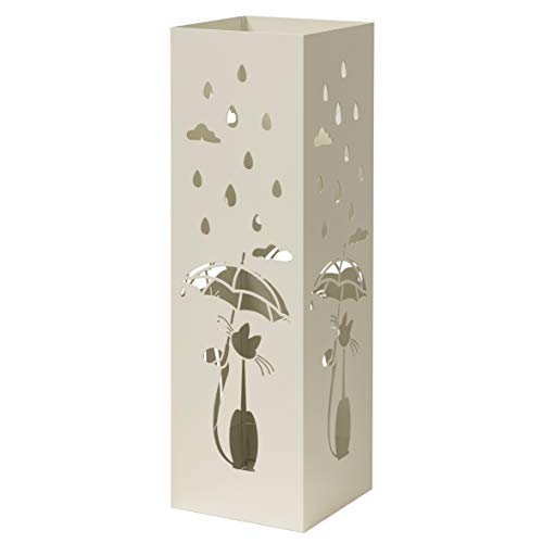 Baroni Home Portaombrelli Design Moderno Porta Ombrelli in Metallo Bianco con Gatto con 2 Gancini e Vaschetta Scolapioggia Rimovibile 15,5X15,5X49 cm