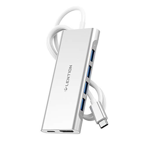 LENTION 4ポートUSB Type-C ハブ CB-C35-1M 1メートル 6in1機能拡張 4K HDMI PowerDelivery対応 USB-C MacBook Pro (2016-2020 / M1 Chip)、MacBook Air (2018-2020 / M1 Chip)、iPad Pro (2018-2020)、iPad Air 4 (2020)、Surface Pro 7 / Go / Go 2 (サーフェス)、Chromebookなどのノートパソコン、タブレットPC対応 (シルバー)