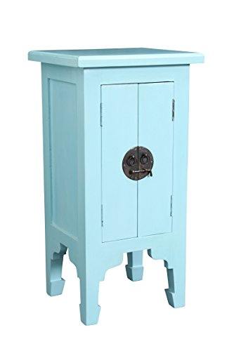 "NES Furniture NES Fine Handcrafted Furniture Solid Mahogany Wood Chany Bedside Table - 28"", Egg Blue"