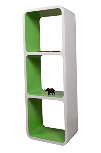 Etagères Design Rétro Mur Bibliothèque Cubes Cube Décoratif étalage Vitrine Blanc & Vert LO13BZ