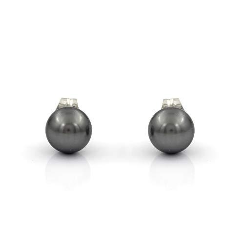 Pendientes de plata con perla negra Swarovski (Plata, Perla Negra)
