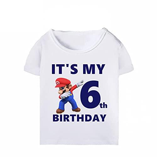 Super Mario niño niña Juego de Dibujos Animados Divertidas Camisetas It's My 1-10th Birthday Ropa de Verano Tshirts Manga Corta