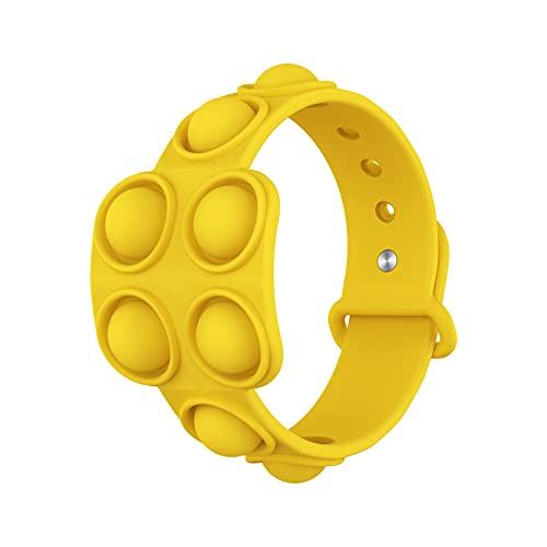 Pulseras de silicona de descompresión, alivio del estrés, pulseras de goma de burbujas – Presione las pulseras de burbujas para niños adultos juguetes sensoriales Fidget juguete amarillo