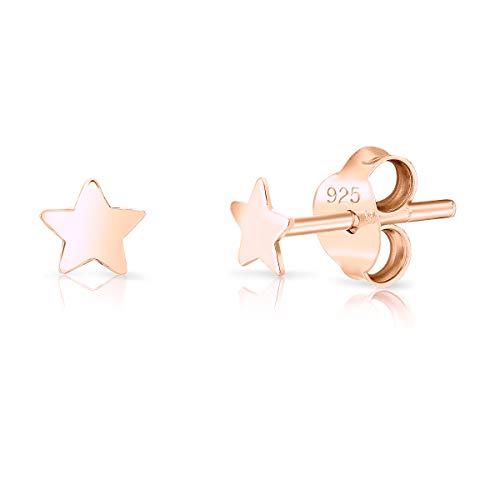 DTPsilver Orecchini a Perno/Pressione PICCOLI - Argento 925 Placcato in Oro Rosa - Forma di Stella - Diametro: 3.5 mm