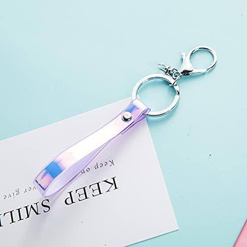 XKMY Correa de cuello con láser colorido y descolorido para llaves, tarjetas de identificación, correas para teléfono móvil, soporte de tarjeta USB, cuerda para colgar bricolaje (color morado)