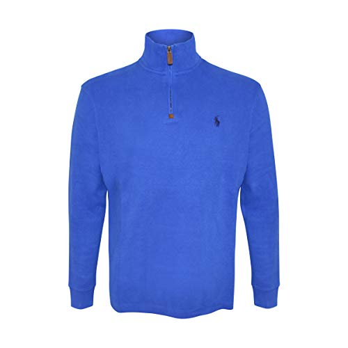Polo Ralph Lauren Mens French Rib Knit Half Zip Pullover Sweater (Blue, X-Large)