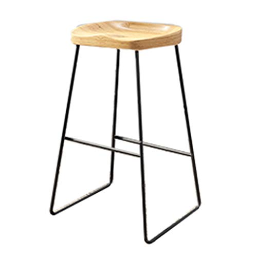 Hoher Stuhl GCX- Barhocker Massivholz Barhocker Schmiedeeisen Barhocker Hochhocker Eisen-Draht-Lounge Chair Barhocker Dining Chair Langlebig (Color : Black, Size : 75cm)