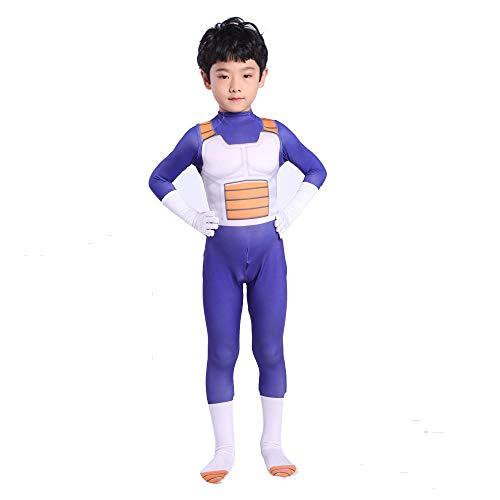 Kinder Jungen Anime Dragon Ball Z Gemüse Cosplay Kostüm Super Saiyajin Kampfuniform Cosplay Handschuhe Kostüm Bodysuit für Halloween Weihnachten