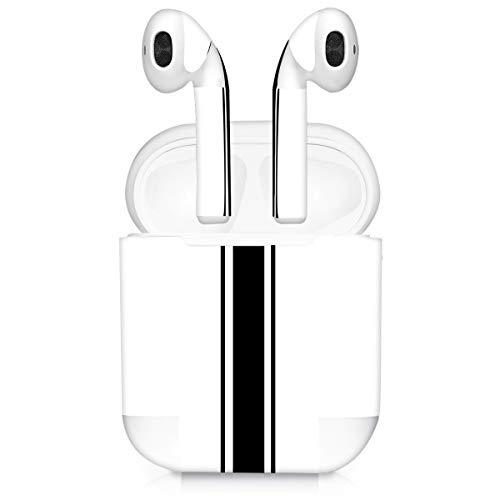 kwmobile Set Adesivi 7 in 1 Compatibile con Apple AirPods (1. Generation) - 7X Decorazioni per Personalizzare Auricolari - Sticker Pellicola autoadesiva - Strisce Rally Nero/Bianco