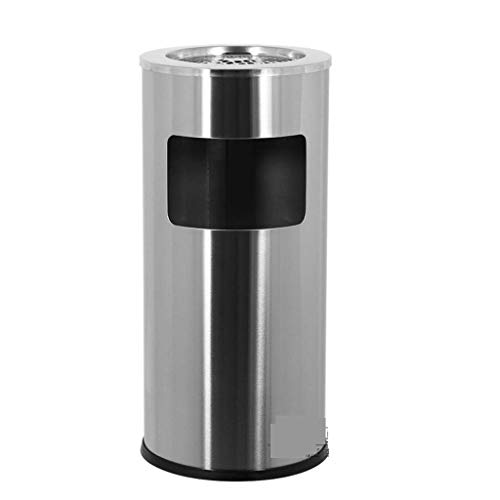JIGUANG Cigar Ashtray Environmental Waste bin, Cylindrical Waste bin, Stainless Steel Wastebasket, 14 liters 烟灰缸