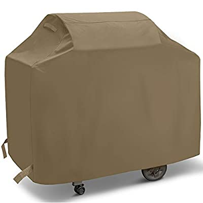 SunPatio Gas Grill Cover 55 Inch, Upgraded Heavy Duty Outdoor Barbecue Cover with Waterproof Sealed Seam, Durable FadeStop Material, All Weather Resistant for Weber Char-Broil Grills and More, Taupe