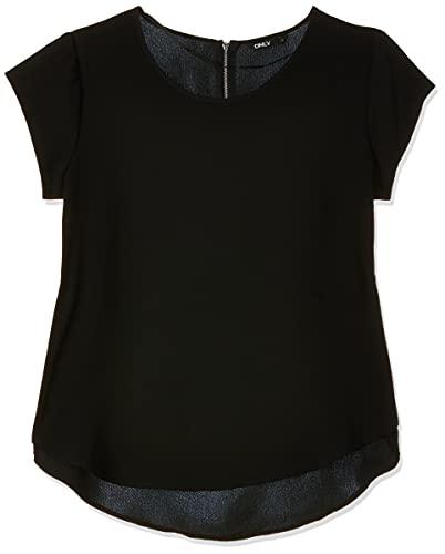 ONLY Damen T-Shirt Onlvic S/S Solid Top Noos Wvn , Schwarz (Black Black) , 42