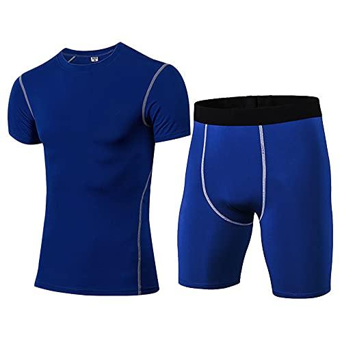 Musculosa Camisa Hombre Verano Clásica Moda Cuello Redondo Hombre Compresión Shirt Moderno Básico Ajustado Elástico Hombre Manga Corta Set Gym Entrenamiento Secado Rápido Shirt