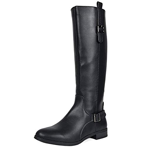 TOETOS Women's Sam Black Faux Leather Knee High Winter Riding Boots Size 7.5 M US