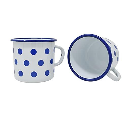Juego de 2 tazas de metal esmaltado, 400 ml, color blanco con lunares azules