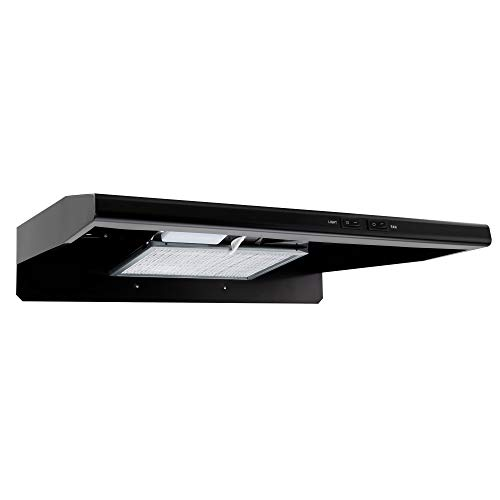 RecPro RV Stove Range Hood Vent   22' Black   Low Profile   120V   Charcoal Filter   2 Speeds