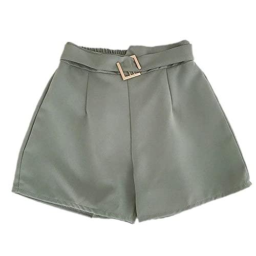Pantalones Cortos de Verano Dama Cintura elástica Gasa pantalón Corto Casual Negro