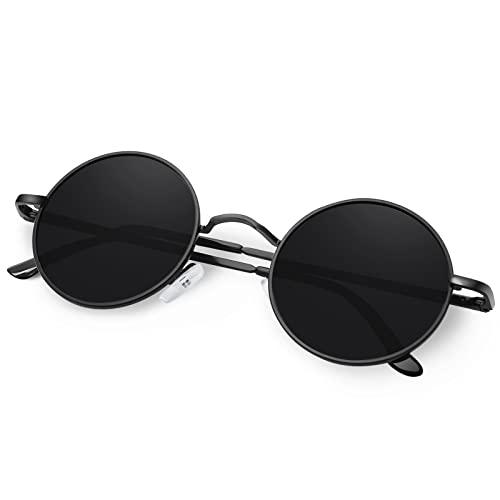 KANASTAL Sonnenbrille Herren Damen Polarisiert John Lennon Metallkreis Hippie Steampunk Runde Retro Mode mit 100% UV-Schutz(Schwarz)