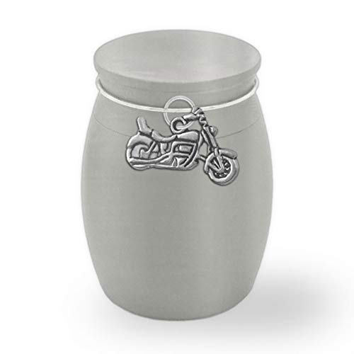 Photojewelrymaking Small Mini Motorcycle Biker Keepsake Memorial Ashes Holder Container Jar Vial Brushed Stainless Steel Cremation Funeral Urn