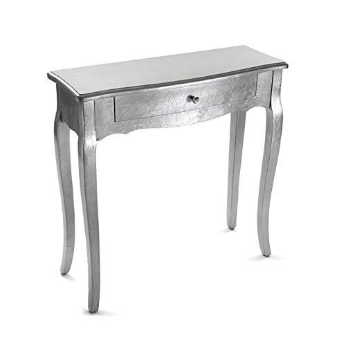 Versa Cagliari Schmales Möbelstück für den Eingangsbereich oder Flur, Konsolentisch, mit Einer Schublade, Maßnahmen (H x L x B) 80 x 30 x 80 cm, Holz, Farbe Silber