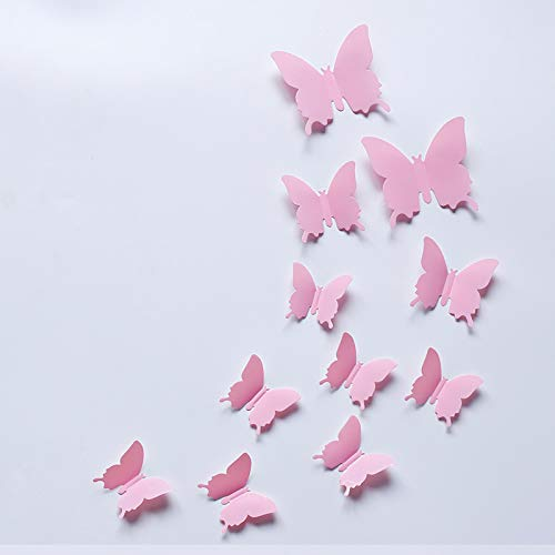 YIYIYI 12pcs 3D Butterfly Removable Mural Wall Stickers PVC 3D Simulation Butterfly Mirror Sticker