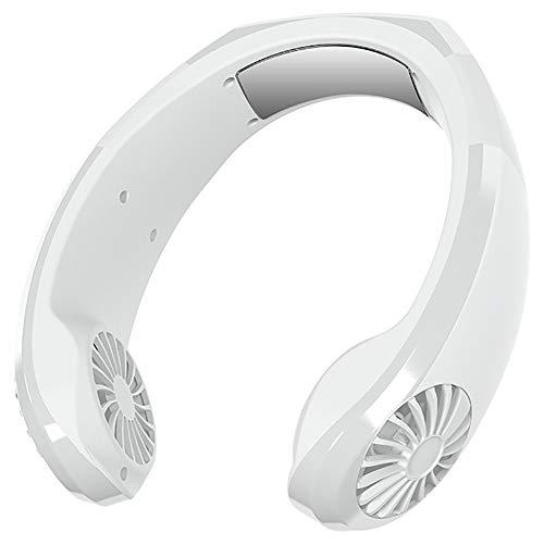 Ventiladores USB para Colgar Cuello, Ventilador Personal Sin Cuchillas Manos Libres, Ventilador PortáTil con Control Viento 3 Velocidades y Recargable, para Viajes, Transporte Deportivo,Blanco