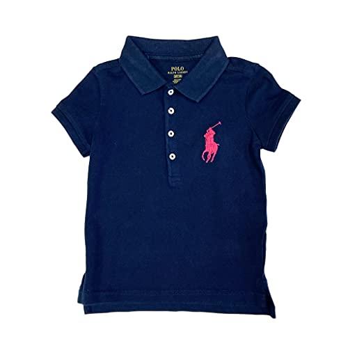 Polo Ralph Lauren Girl's Big Pony Polo Shirt (4/4T, Navy (Pink Pony))