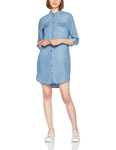 VERO MODA Damen VMSILLA LS Short Dress LT BL NOOS GA Kleid, Blau (Light Blue Denim Light Blue Denim), 42 (Herstellergröße: XL)