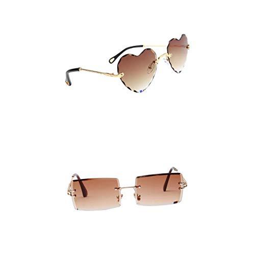 Harilla Gafas de Sol Sin Montura de 2 Formas Retro Clásico Fiesta Lente Tintada Gafas Anti UV