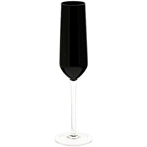 CRISTALICA Flûte à Champagne Flûte à Champagne Coupe Champagne Noir & Blanc Noir 180 ml H = 26cm