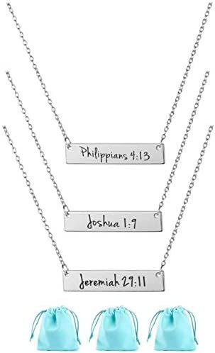 3 Pieces Faith Bar Necklaces Christian Inspirational Gift Stainless Steel Jewelry Encouragement product image