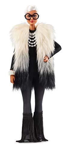 Barbie Collector Muñeca diseñada por Iris Apfel, look blanco y negro (Mattel...