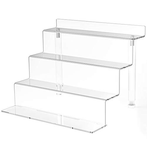 WINKINE Acrylic Riser Display Shelf, 4 Tier Display Riser for Amiibo Funko POP Figures, Tiered Display Stand Small Risers for Display, Conutertop Desktop Acrylic Display for Decoration and Organizer
