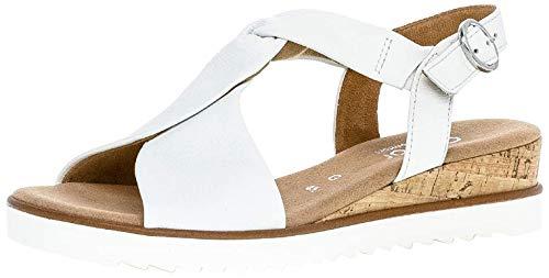 Gabor Damen Sandalen, Frauen Keilsandalen,Comfort-Mehrweite, bequem flach weibliche Lady Ladies feminin,Weiss(Kork/offwhi),37.5 EU / 4.5 UK