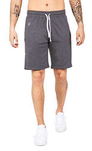 Banqert Herren Shorts Sunny Strokes, Kurze Sweatpants für Männer aus Active-Brushed Cotton, lässige Jogger für Freizeit und Fitness, in Dunkel-Grau, XL