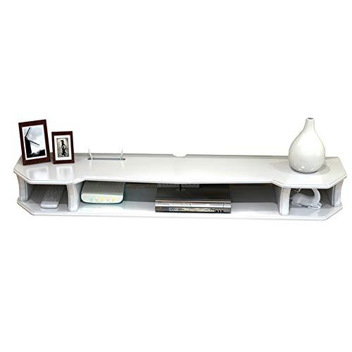Mueble de TV Montado en la Pared con Estante Flotante, Consola de TV, Estante de Almacenamiento de Entretenimiento Multimedia DoméStico, Estante Abierto/Blanco / 90cm