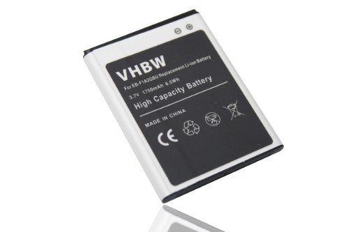 vhbw Li-Ion Akku Set 1750mAh (3.7V) für Smartphone, Telefon, Handy Samsung Galaxy S2 GT-i9100, S2 GT-i9101, S2 GT-i9108 wie EB-F1A2GBU, EB-F1A2.