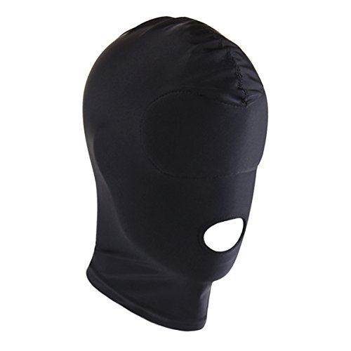 Hansber Unisex Adult Eyes & Mouth Open Headgear Mask Hood Breathable Blindfold Face Cover Blindfold Cosplay Costume Black& Type C Free Size