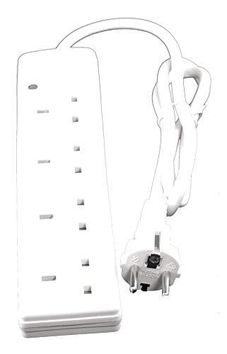 Europa Schuko Typ E / F Reiseadapter Adapter Power 1 Meter Verlängerungskabel 4 × UK-Buchsen Frankreich Spanien Deutschland Belgien Italien usw.