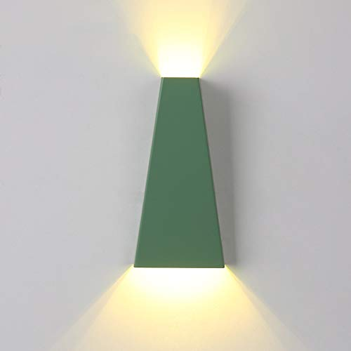 LED Couleur Applique Moderne En Fer Forgé Applique Murale Chambre Lampe De Chevet En Aluminium Économie D'énergie Lampe Décorative (Color : Green)