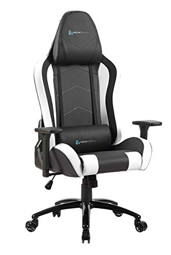 Newskill Takamikura - Silla Gaming Profesional (inclinación y Altura Regulable, reposabrazos Ajustables, reclinable 180º), piel, con ruedas, tapizada, reposabrazos, Color Blanco