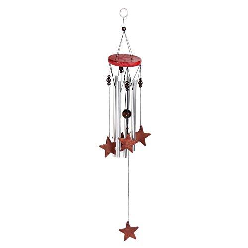 Windspiel für Draußen - Glockenspiel für Garten und Balkon - Holz Klangspiel sorgt für tollen Klang und beruhigende und entspannte Atmosphäre - auch als Vogelschreck (Design 2 - Stern)