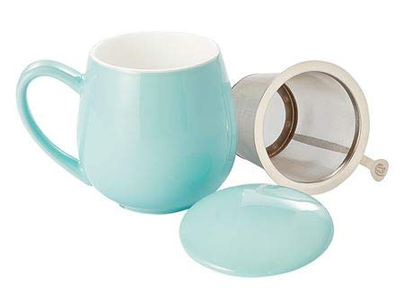 d&b Saara - Taza de té (porcelana, 3 piezas, 0,35 L), color turquesa