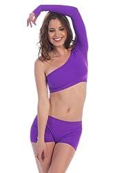 Kurve Dancewear One Shoulder Long Sleeve Crop Dance Top Neon Purple
