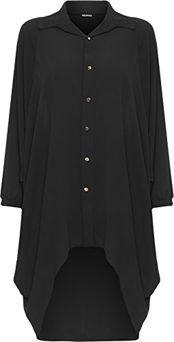 WearAll Damen Übergröße Batwing Hemd Kleid Lang Hülle Tauchen Saum Hi Es Schaltfläche Kragen Damen - Schwarz - 52-54