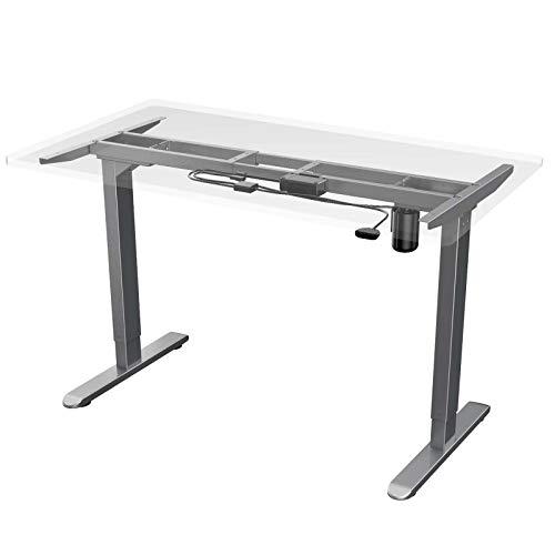 AIMEZO Elektryczne biurko stojące ergonomiczna regulacja wysokości stojak na biurko rama dwustopniowa wytrzymała stalowa stojąca biurko z klawiaturą w górę (tylko ramka - szara)